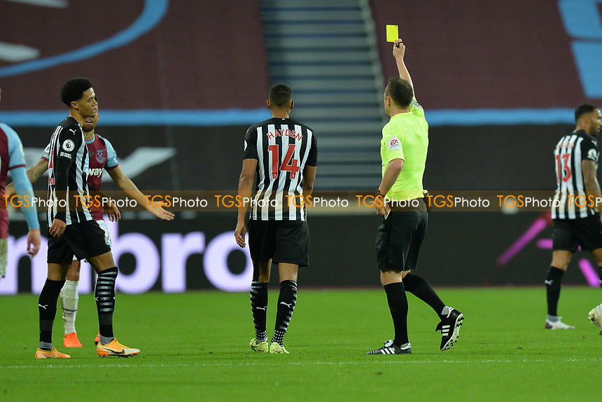 Ryan Fredericks of West Ham United Receives a Yellow Card during West Ham United vs Newcastle United, Premier League Football at The London Stadium on 12th September 2020