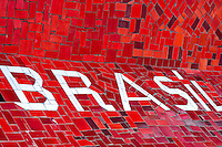 A writing Brasil seen on Selaron's Stairs (Escadaria Selarón), a colorful mosaic tile stairway, in Rio de Janeiro, Brazil, 12 February 2012. World-famous staircase, mostly covered by vibrant yellow, green and blue tiles (inspired by the colors of the Brazilian flag), is the masterpiece of Chilean-born artist Jorge Selarón who considers it as a personal tribute to the Brazilian people. Connecting the neighborhoods of Santa Teresa and Lapa, the stairway is made up of 250 steps and measures 125 meters long. In 1990 Selarón began work on the stairway, creating a constantly evolving piece of art, now adorned with over 2,000 brightly colored tiles collected from over 60 countries. Selarón funds his one man's project through donations and the sale of his black-and-red paintings which mostly depict a pregnant African woman or himself. Living his passion, the eccentric 65-year-old artist claims that this crazy and unique dream will only end on the day of my death.