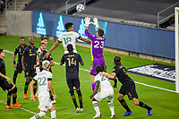 LOS ANGELES, CA - SEPTEMBER 13: Julio Cascante #18 of the Portland Timbers battles with Pablo Sisniega #23 GK for a ball in the box during a game between Portland Timbers and Los Angeles FC at Banc of California stadium on September 13, 2020 in Los Angeles, California.