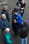 Spartans 1 University of Stirling 0, 12/03/2016. Ainslie Park, Scottish Lowland League. 'Groundhoppers' enjoying refreshments before the Spartans versus University of Stirling Scottish Lowland League match at Ainslie Park, Edinburgh. The match was one of six attended by members of GroundhopUK over the weekend to accommodate groundhoppers, fans who attempt to visit as many football venues as possible. Around 100 fans in two coaches from England participated in the 2016 Lowland League Groundhop and they were joined by other individuals from across the UK which helped boost crowds at the six featured matches. Photo by Colin McPherson