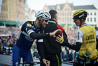 Tom Boonen (BEL/Etixx-QuickStep) salutes Sep Vanmarcke (BEL/LottoNL-Jumbo) on the start podium<br /> <br /> 100th Ronde van Vlaanderen 2016
