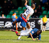 Soccer, UEFA U-17.France Vs. England.Jordan Cousins of England and Abdallah Yaisien of France in action.Indjija, 03.05.2011..foto: Srdjan Stevanovic