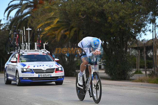European Champion Stefan Küng (SUI) Groupama-FDJ recons Stage 7 of Tirreno-Adriatico Eolo 2021, an individual time trial running 10.1km around San Benedetto del Tronto, Italy. 16th March 2021. <br /> Photo: LaPresse/Marco Alpozzi | Cyclefile<br /> <br /> All photos usage must carry mandatory copyright credit (© Cyclefile | LaPresse/Marco Alpozzi)