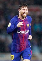 FC Barcelona's Leo Messi celebrates goal during La Liga match. January 14,2018.  *** Local Caption *** © pixathlon<br /> Contact: +49-40-22 63 02 60 , info@pixathlon.de