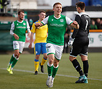 09.02.2020 BSC Glasgow v Hibs: Greg Docherty scores goal no 4 for Hibs and celebrates
