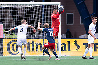 FOXBOROUGH, MA - JULY 4: Dallas Jaye #22 of Greenville Triumph SC saves a shot on goal during a game between Greenville Triumph SC and New England Revolution II at Gillette Stadium on July 4, 2021 in Foxborough, Massachusetts.