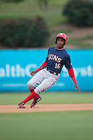 Victor Robles (16) of the Hagerstown Suns puts on the brakes after rounding second base during the game against the Kannapolis Intimidators at Kannapolis Intimidators Stadium on May 5, 2016 in Kannapolis, North Carolina.  The Suns defeated the Intimidators 7-0.  (Brian Westerholt/Four Seam Images)
