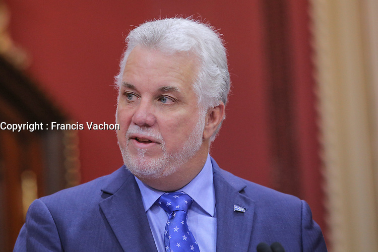 Quebec Premier Philippe Couillard speaks after presenting his new cabinet at the National Assembly in Quebec city October 11, 2017.<br /> <br /> PHOTO :  Francis Vachon - Agence Quebec Presse