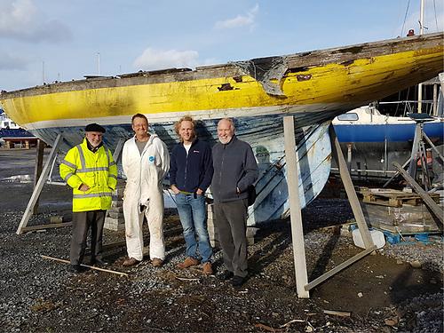 Naneen pre-restoration in Kilrush with (left to right) Fionan de Barra, Steve Morris, design consultant Paul Spooner, and Hal Sisk