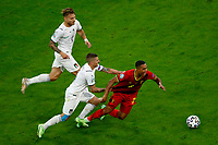 Marco Verratti of Italy and Youri Tielemans of Belgium compete for the ball during the Uefa Euro 2020 round of 8 football match between Belgium and Italy at football arena in Munich (Germany), July 2nd, 2021. Photo Matteo Ciambelli / Insidefoto
