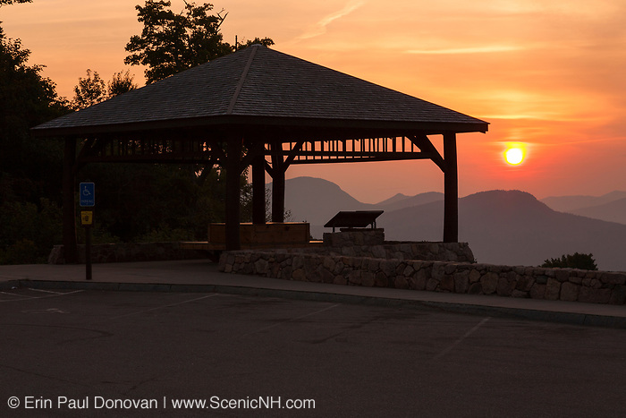 Sunrise from the C.L. Graham Wangan Grounds Scenic Overlook along the Kancamagus Highway (Route 112) in the White Mountains, New Hampshire. The Kancamagus Highway is one of New England's scenic byways.