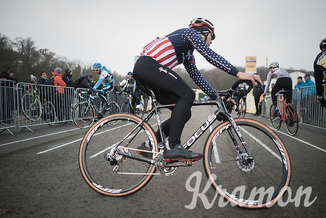 Jeremy Powers (USA/Rapha-Focus) pulling some warm-up sprints on the start straight<br /> <br /> 2016 CX UCI World Cup Zeven (DEU)
