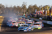 V8 Supercars Race 1 action at The City of Ipswich 400, Queensland Raceway