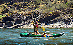 Inflatable canoe on the Lower Salmon River, central Idaho