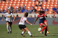 Houston, TX - Sunday Oct. 09, 2016: Elizabeth Eddy, Francisca Ordega during a National Women's Soccer League (NWSL) Championship match between the Washington Spirit and the Western New York Flash at BBVA Compass Stadium.