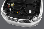 High angle engine detail of a  2009 Toyota Highlander Hybrid Limited.