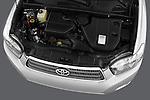 High angle engine detail of a  2009 Toyota Highlander Hybrid Limited.