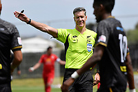 Referee Matthew Conger during the ISPS Handa Men's Premiership - Team Wellington v Canterbury Utd at David Farrington Park, Wellington on Saturday 19 December 2020.<br /> Copyright photo: Masanori Udagawa /  www.photosport.nz