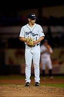 Lakeland Flying Tigers relief pitcher Joe Navilhon (1) gets ready to deliver a pitch during a game against the Tampa Tarpons on April 5, 2018 at Publix Field at Joker Marchant Stadium in Lakeland, Florida.  Tampa defeated Lakeland 4-2.  (Mike Janes/Four Seam Images)