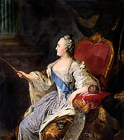 Oil on canvas portrait of Empress Catherine the Great by Russian painter Fyodor Rokotov<br /> Date <br /> <br /> 1763 - Catherine The Great-
