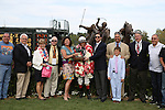 April 10, 2015: Jockey John Velazquez and trainer Steve Asmussen in the winners circle after winning the Apple Blossom Handicap at Oaklawn Park in Hot Springs, AR. Justin Manning/ESW/CSM