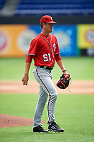 Washington Nationals starting pitcher Mason Denaburg (51) during a Florida Instructional League game against the Miami Marlins on September 26, 2018 at Marlins Park in Miami, Florida.  (Mike Janes/Four Seam Images)