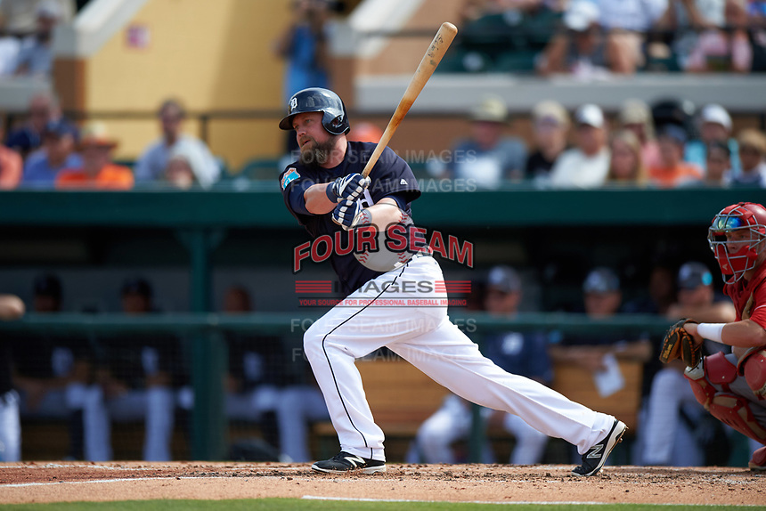 Detroit Tigers third baseman Casey McGehee (31) at bat during an exhibition game against the Florida Southern Moccasins on February 29, 2016 at Joker Marchant Stadium in Lakeland, Florida.  Detroit defeated Florida Southern 7-2.  (Mike Janes/Four Seam Images)