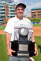 Danny Hultzen #23 of the Virginia Cavaliers holds the ACC Championship trophy after the Cavaliers defeated the Florida State Seminoles 7-2 at the Durham Bulls Athletic Park on May 29, 2011 in Durham, North Carolina.  Photo by Brian Westerholt / Four Seam Images
