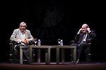 British novelist Salman Rushdie (L) and Antonio Munoz Molina before the `Circulo de Bellas Artes´ Golden Medal ceremony in Madrid, Spain. October 06, 2015. (ALTERPHOTOS/Victor Blanco)