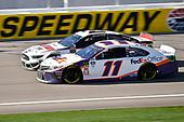 #11: Denny Hamlin, Joe Gibbs Racing, Toyota Camry FedEx Office and #2: Brad Keselowski, Team Penske, Ford Mustang Discount Tire