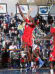 Lamar Cardinals center Orlando Brazier (0) goes for a rebound in the game between the Lamar University Cardinals and the University of Texas-Arlington Mavericks held at the University of Texas in Arlington's Texas Hall in Arlington, Texas. Lamar defeats UTA 76 to 72