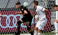 LOS ANGELES, CA - AUGUST 22: Tristan Blackmon #27 of the LAFC and Nicholas DePuy #20 of the Los Angeles Galaxy battle for ball during a game between Los Angeles Galaxy and Los Angeles FC at Banc of California Stadium on August 22, 2020 in Los Angeles, California.