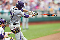 TCU Horned Frogs outfielder Dane Steinhagen (10) swings the bat against the LSU Tigers in the NCAA College World Series on June 14, 2015 at TD Ameritrade Park in Omaha, Nebraska. TCU defeated LSU 10-3. (Andrew Woolley/Four Seam Images)