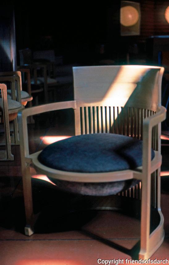 "F.L. Wright: Chair--""Wingspread"". Herbert F. Johnson Residence.  Photo '77."