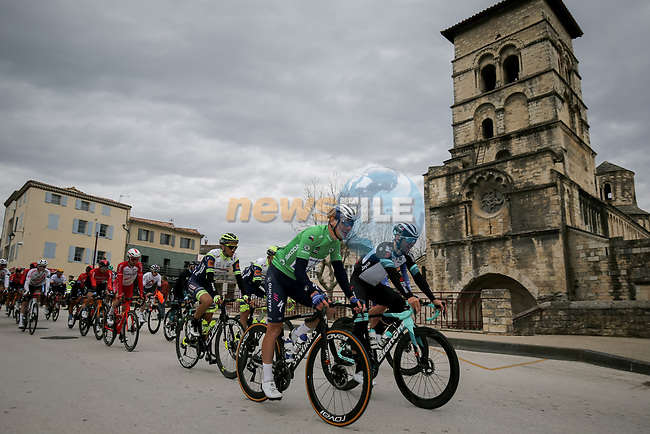 The peloton including Green Jersey Sam Bennett (IRL) Deceuninck-Quick Step during Stage 5 of Paris-Nice 2021, running 200km from Vienne to Bollene, France. 11th March 2021.<br /> Picture: ASO/Fabien Boukla | Cyclefile<br /> <br /> All photos usage must carry mandatory copyright credit (© Cyclefile | ASO/Fabien Boukla)