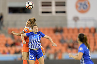 Houston, TX - Wednesday June 28, 2017: Carli Lloyd and Morgan Andrews go up for a header during a regular season National Women's Soccer League (NWSL) match between the Houston Dash and the Boston Breakers at BBVA Compass Stadium.