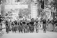 compact peloton with less then 1 km to go to the finish<br /> <br /> 103rd Liège-Bastogne-Liège 2017 (1.UWT)<br /> One Day Race: Liège › Ans (258km)