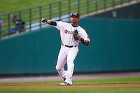 Rochester Red Wings shortstop Argenis Diaz (13) throws to first during a game against the Lehigh Valley IronPigs on May 15, 2015 at Frontier Field in Rochester, New York.  Rochester defeated Lehigh Valley 5-4.  (Mike Janes/Four Seam Images)
