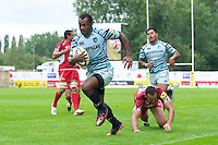 Vereniki Goneva of Leicester Tigers runs in a try during the Aviva Premiership match between London Welsh and Leicester Tigers at the Kassam Stadium on Sunday 2nd September 2012 (Photo by Rob Munro)