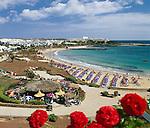 Spain, Canary Island, Lanzarote, Costa Teguise: Beach and Town | Spanien, Kanarische Inseln, Lanzarote, Costa Teguise: Beach and Town