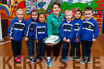 Ciara Griffin Ireland Women's Rugby captain pictured with Junior infants at CBS Primary, Amanda Briede, Maja Urbala, Ashlyn Neerakkal, , Lucas Sugrue, Muhammed Hayan P.A., Adam Grondys.