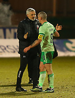 10th February 2021; St Mirren Park, Paisley, Renfrewshire, Scotland; Scottish Premiership Football, St Mirren versus Celtic; St Mirren manager Jim Goodwin congratulates Scott Brown of Celtic after the match