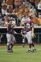Texas A&M Aggies catcher Kevin Gonzalez #6 congratulates teammate pitcher Ross Stripling #36 on his complete game shutout of the Texas Longhorns in NCAA Big XII Conference baseball on May 21, 2011 at Disch Falk Field in Austin, Texas. (Photo by Andrew Woolley / Four Seam Images)