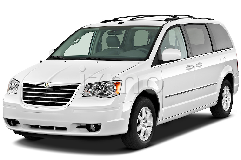 Front three quarter view of a 2010 Chrysler Town and Country Touring.
