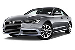 Stock pictures of low aggressive front three quarter view of a 2018 Audi A6 Base 4 Door Sedan