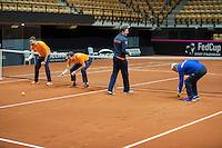 Arena Loire,  Trélazé,  France, 14 April, 2016, Semifinal FedCup, France-Netherlands, Dutch team warming up, playing the baselinegame<br /> Photo: Henk Koster/Tennisimages