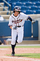 Matt Weaver #9 of the Rome Braves hustles down the first base line against the Greenville Drive at State Mutual Stadium July 25, 2010, in Rome, Georgia.  Photo by Brian Westerholt / Four Seam Images