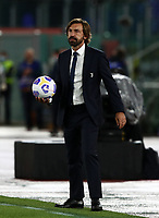 Football, Serie A: AS Roma - Juventus, Olympic stadium, Rome, September 27, 2020. <br />  Juventus' coach Andrea Pirlo with the ball during the Italian Serie A football match between Roma and Juventus at Olympic stadium in Rome, on September 27, 2020. <br /> UPDATE IMAGES PRESS/Isabella Bonotto
