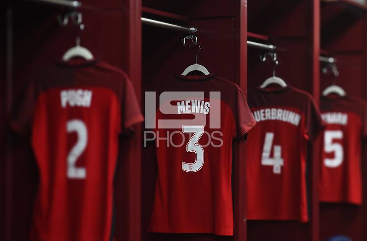 New Orleans, LA - Thursday October 19, 2017: USWNT locker room, Samantha Mewis during an International friendly match between the Women's National teams of the United States (USA) and South Korea (KOR) at Mercedes Benz Superdome.
