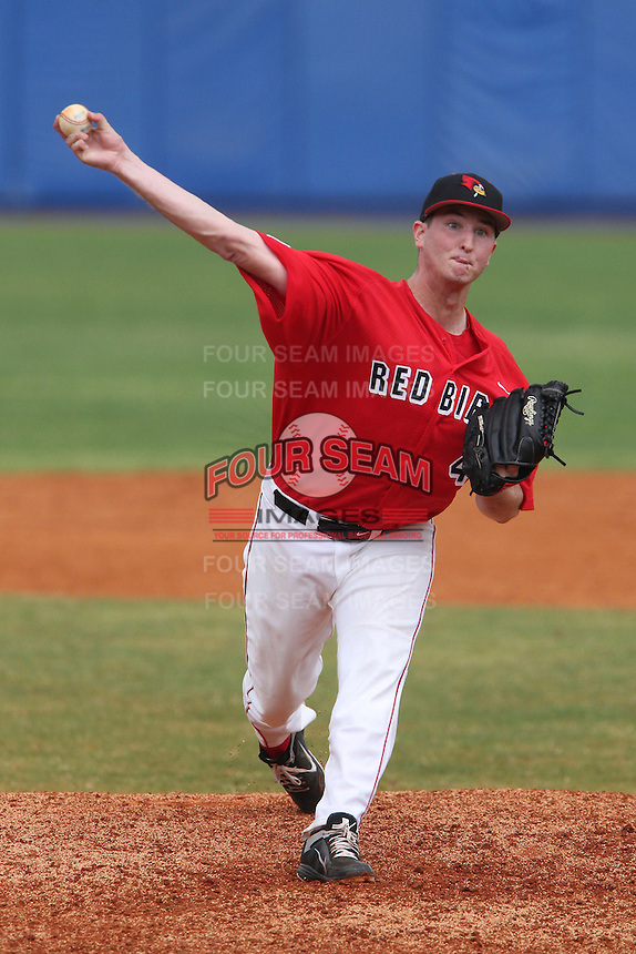 Illinois State Redbirds Johnny Lieske #44 during a game against the Iowa Hawkeyes at Chain of Lakes Stadium on March 11, 2012 in Winter Haven, Florida.  Illinois State defeated Iowa 10-6.  (Mike Janes/Four Seam Images)